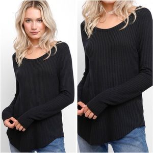 Chaser Waffle Knit Black Long Sleeve Thermal